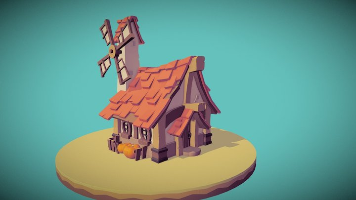 Lowpoly Windmill 3D Model