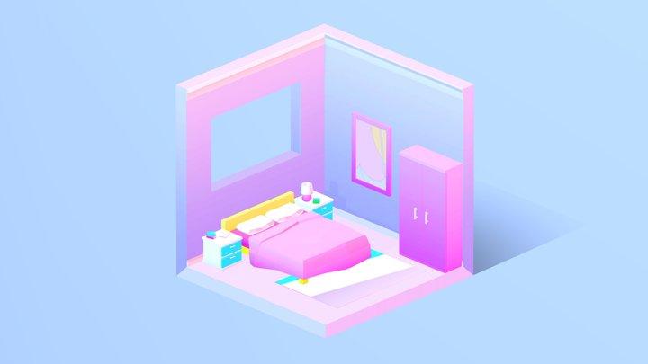 Low Poly Isometric Bedroom 3D Model