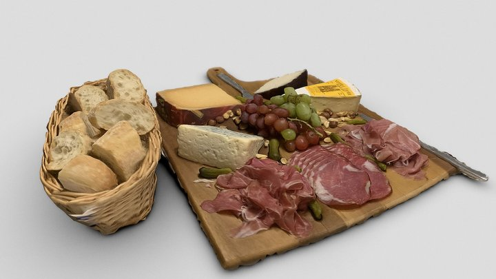 Anatomy of a meat and cheese plate 3D Model