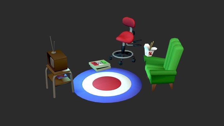 Living Room (Vertex color only) 3D Model