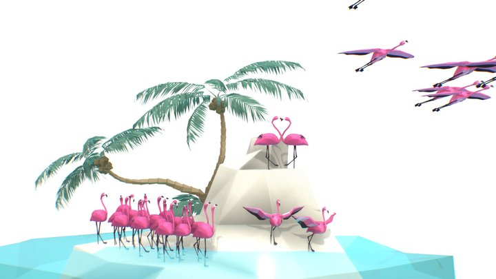 Flamingos 3D Model