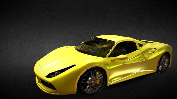 Yellow Ferrari 488 GTB 3D Model
