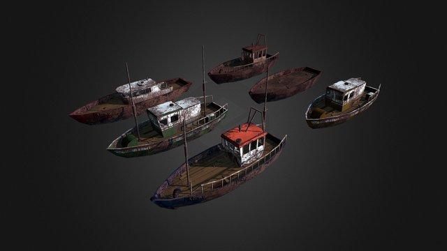 Junkyard Boats 3D Model