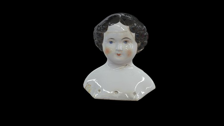1860s Porcelain Doll Head 3D Model