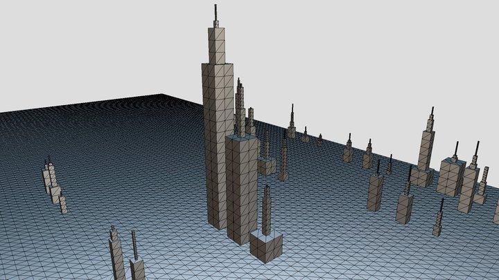 covid map by blocks 3D Model