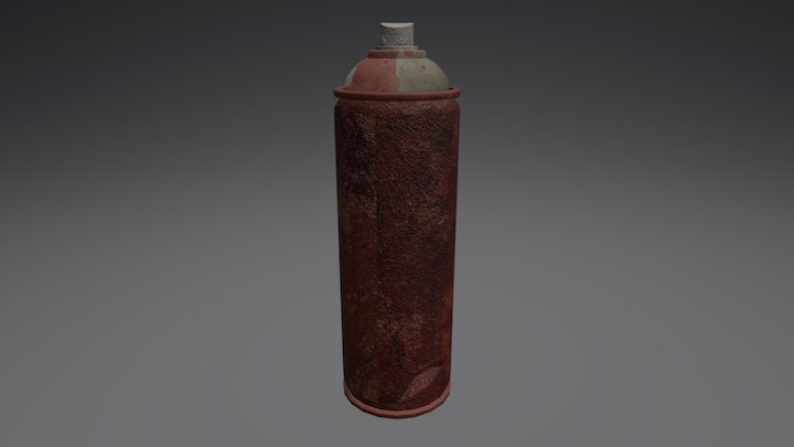 Spray Can Textured 3D Model
