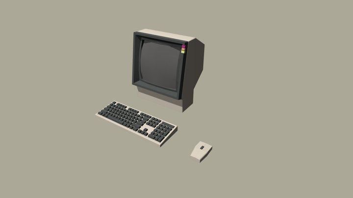 Retro Computer With Mouse And Keyboard 3D Model