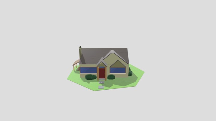 Low Poly Drawing House 3D Model