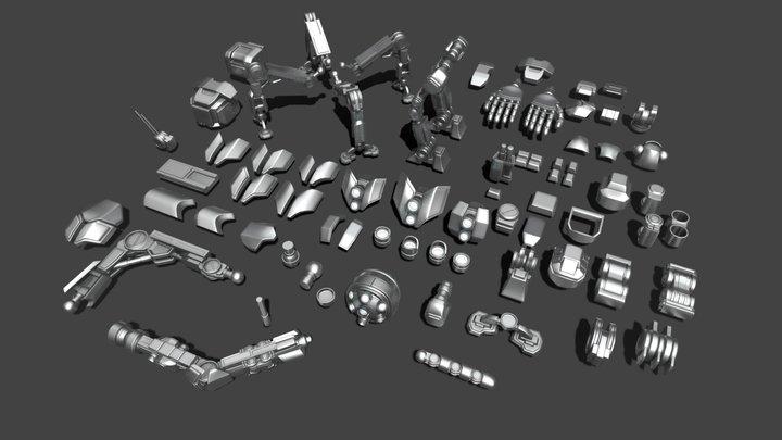 Robot parts (kitbash pack) 3D Model
