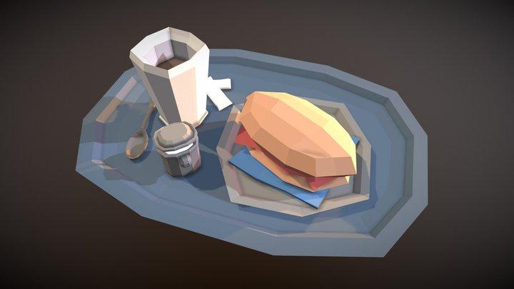 Tea tray for breakfast 3D Model