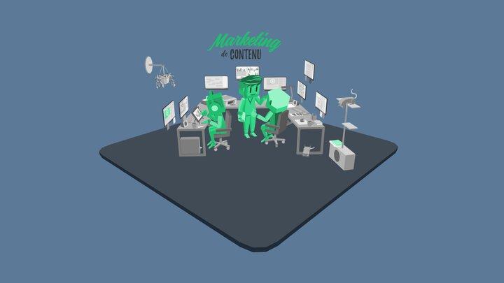 Office scene 01 3D Model