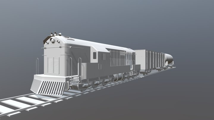 Train engine with two boogie 3D Model
