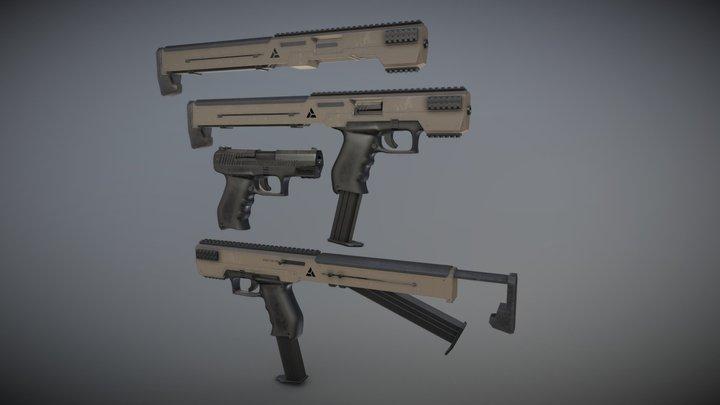 Sci-fi gun extender 3D Model