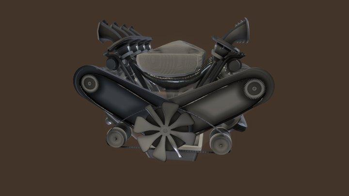 Animated Engine V8 3D Model