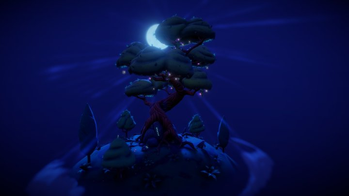 Spiral Tree with tree-houses 3D Model