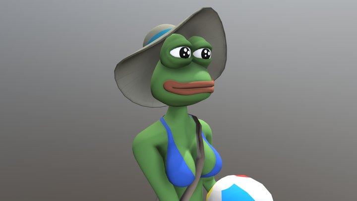 Beach Babe Pepe #MemeChallenge 3D Model