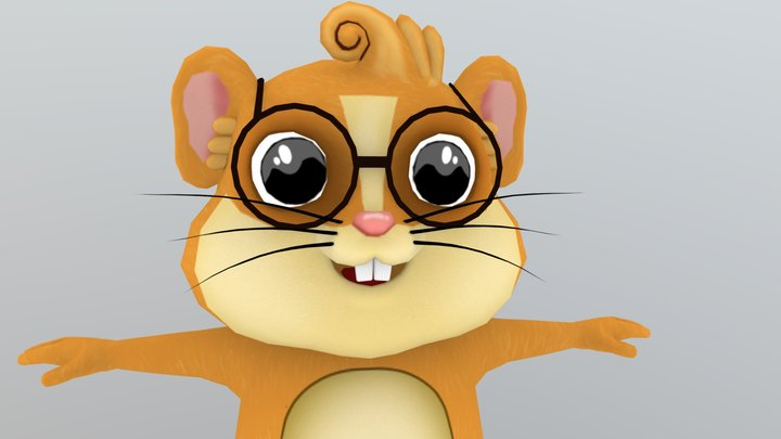 Squirrel game character mobile lowpoly 3D Model