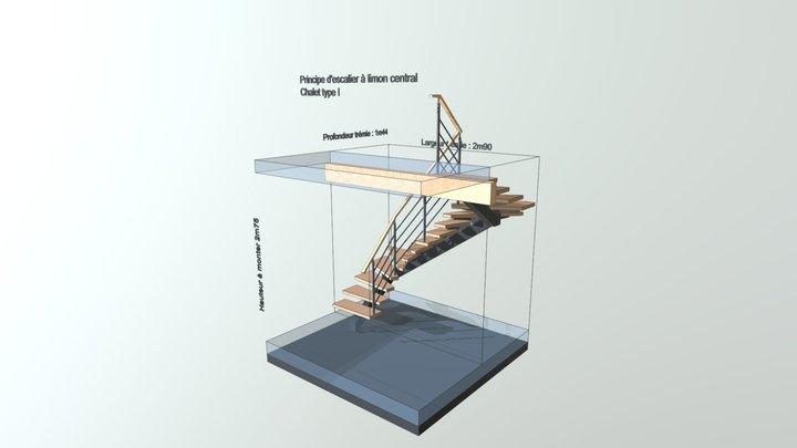 Principe escalier chalet type I 3D Model