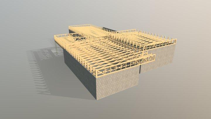 Timber trusses for residential house 3D Model