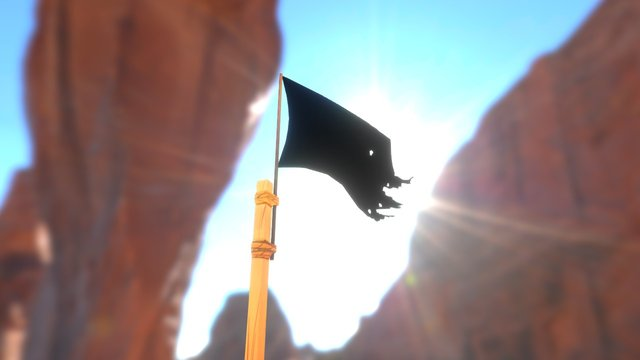 Flag and pole 3D Model
