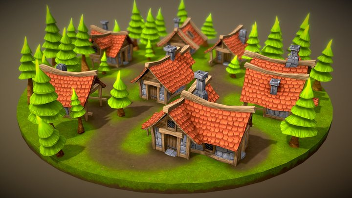 Lowpoly Toon Village 3D Model