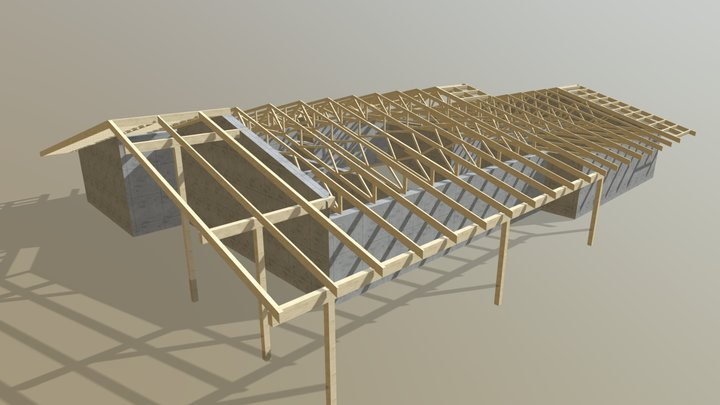 Timber trusses for beautiful house 3D Model