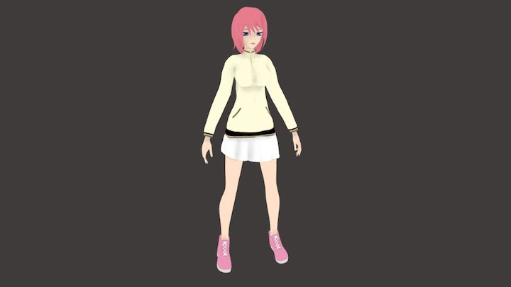 Anime High School Girl 3D Model