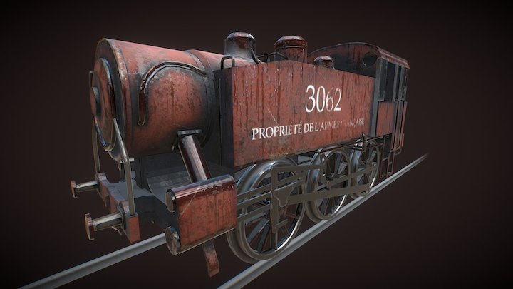 Small Red Shunting Train 3D Model