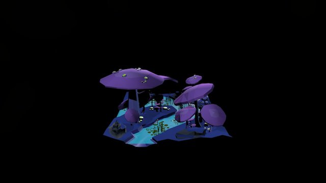 Low Poly Mushroom Forest 3D Model