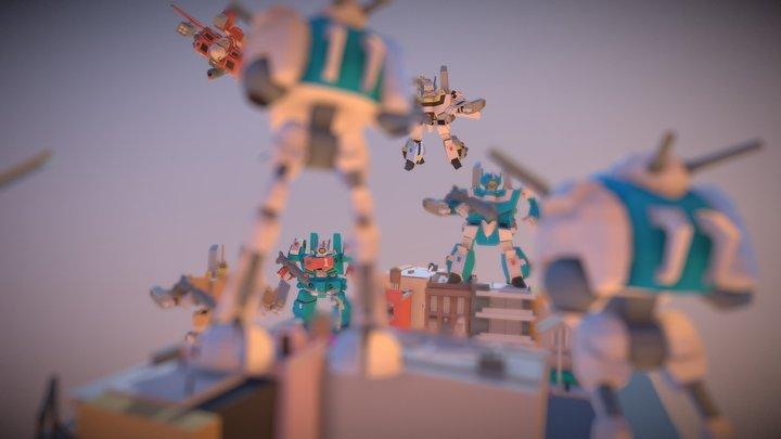 SD Macross City Standoff Diorama 3D Model