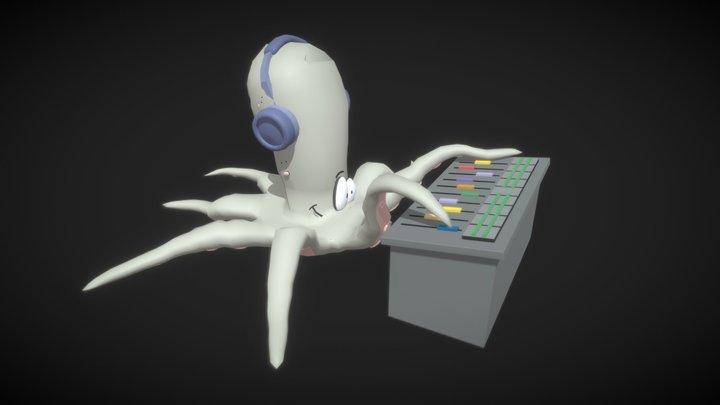Lowpoly Octopus Dj 3D Model
