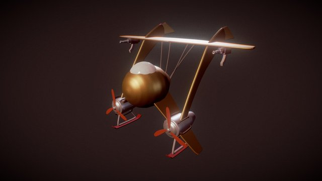 Steampunk biplane 3D Model
