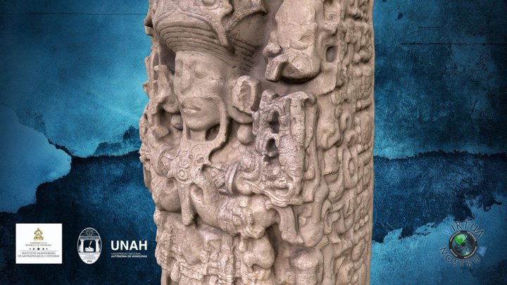 Estela B de Copán - Mayan B Stela of Copan (HN) 3D Model