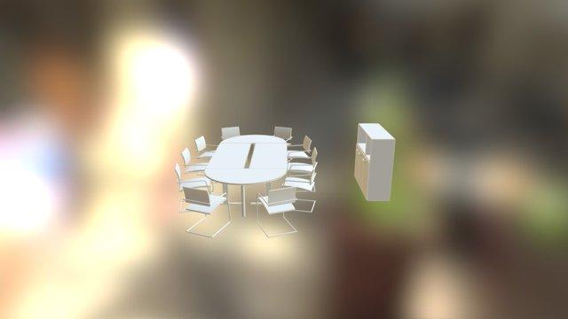 Soluzione ufficio con tavolo riunioni e libreria 3D Model