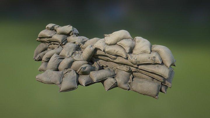 Sandbag Wall Destroyed 01 3D Model