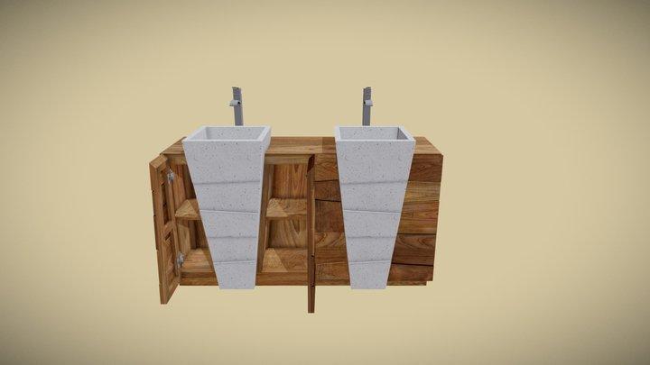 Meuble teck salle de bain SENADUNG