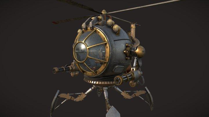 Nazi Steampunk Vehicle - Work in Progress 3D Model