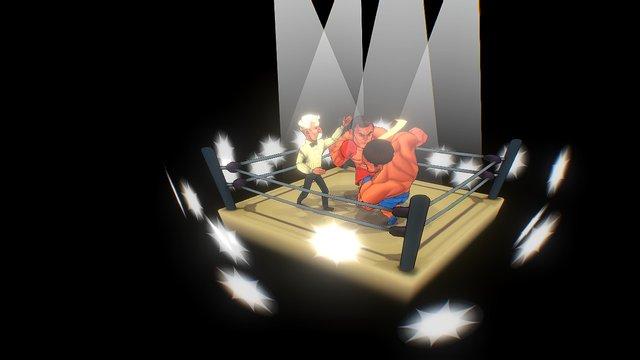 Boxer Fight Diorama 3D Model