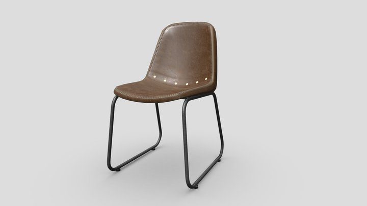 RSG Leather Chair Vintage Industrial 3D Model