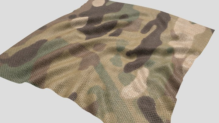 Texture Scan Military camouflage Cloth 3D Model