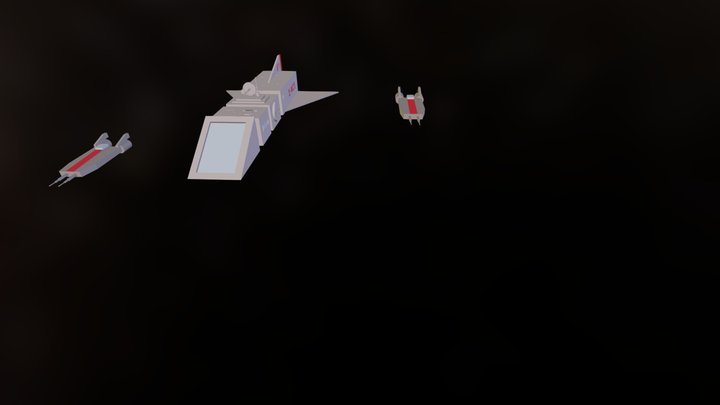 Cargo Ship and Escorts 3D Model