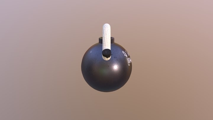 Bomb with fuse 3D Model