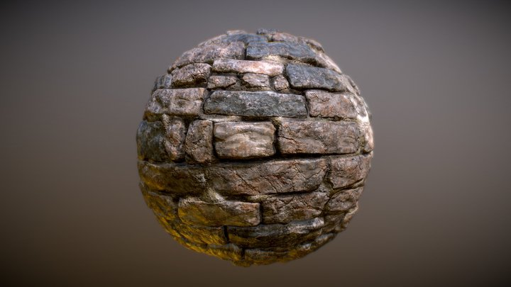 Stone Castle Wall Material 01 3D Model