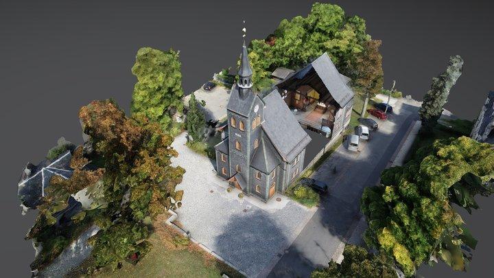 Holzkirche Neuhaus a.Rwg., Schnitt + Statistiken 3D Model