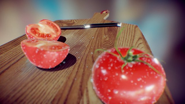Fresh sliced tomatoes 3D Model