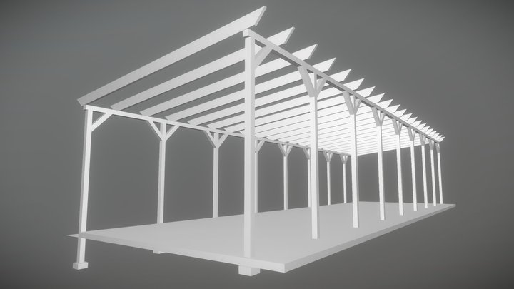 Wooden Pergola on metal frame Деревянная Пергола 3D Model