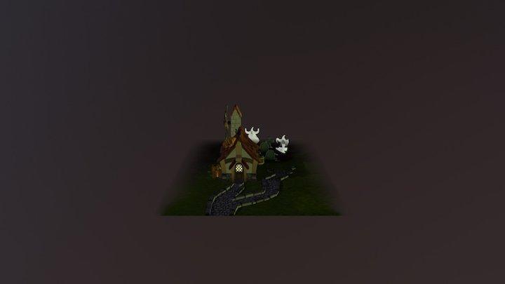 Halloween House (night version) 3D Model
