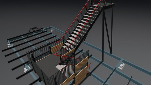 Central Stair - structural connections 3D Model