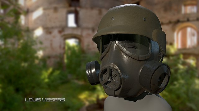 PBR Airsoft Helmet and Mask 3D Model