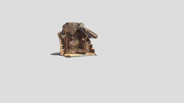Handmade Wood Nativity 3D Model